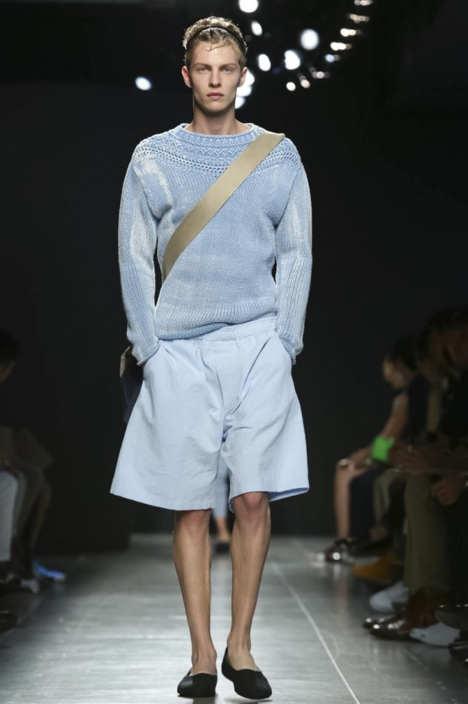 Now this is craftsmanship: overdyed, overwashed and dipped again light blue chunky knit, Bottega Veneta