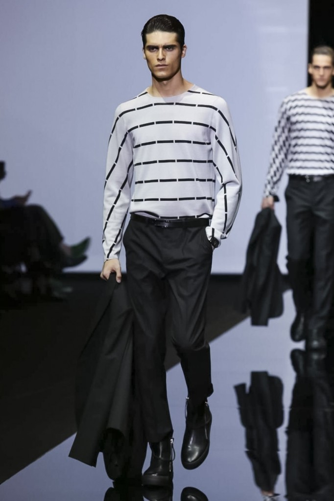 Sporty, smart and striped: Giorgio Armani charts the course with his opening look