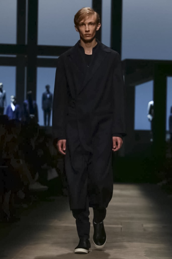 Subtly striped opening look coat, Ermenegildo Zegna Couture
