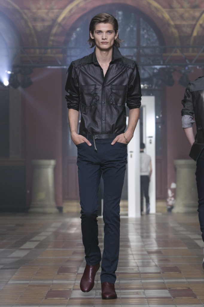 Rocking the runway in leather shirts and skinny pants at Lanvin