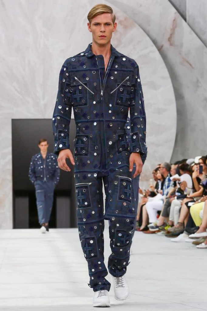 Oriental-embroidered boiler suit