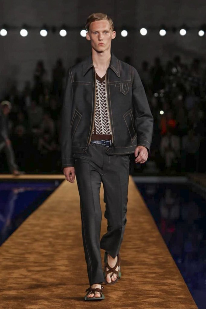 Dark blue denim, the theme of the show and color of the site's soothing pool, Prada Spring 2015