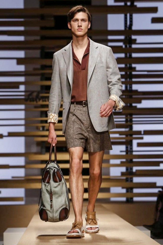 Easing into the weekend in shorts, V-neck and jacket, Salvatore Ferragamo