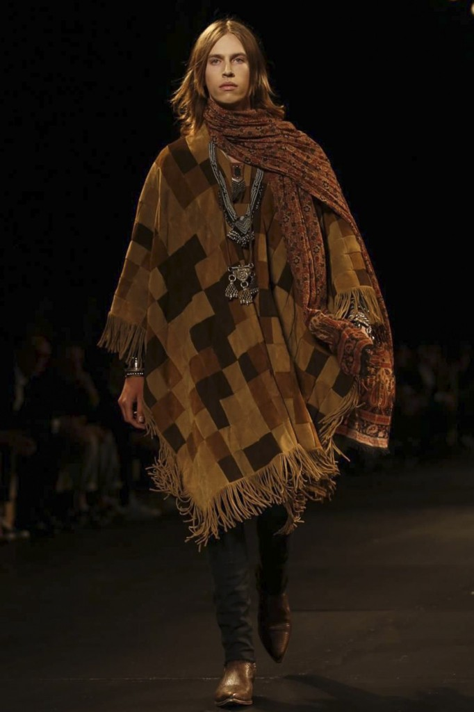 Patchwork ponchos and paisley scarfs make the high-fashion hippie, Saint Laurent