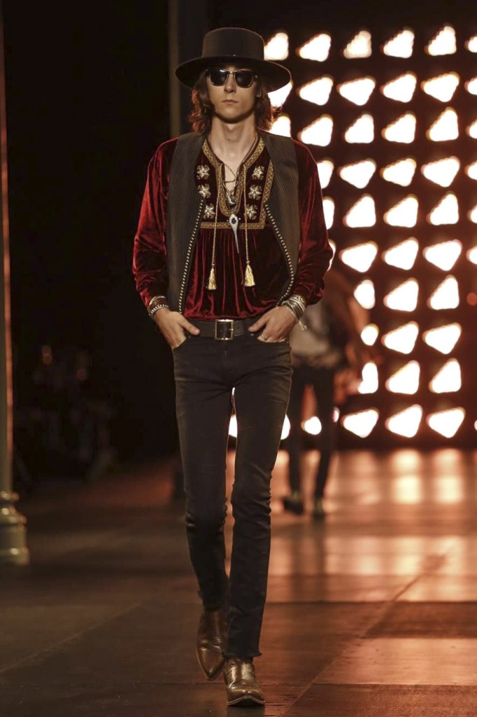 Embroidered tunics and eponymous bangles create a vintage youth culture vibe in fashion, Saint Laurent