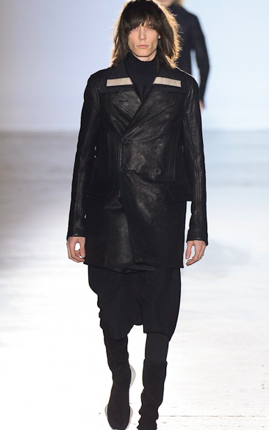 Black leather pea coat by Rick Owens