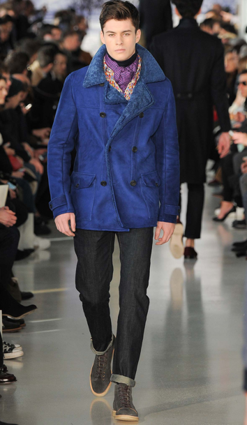 A great-looking petrol blue shearling at Richard James