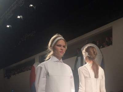 White leather shift on Anna Ewers, Germany's new supermodel