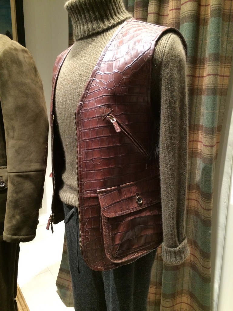 A crisp reptile shooting waistcoat over cashmere roll neck at Purple Label Ralph Lauren