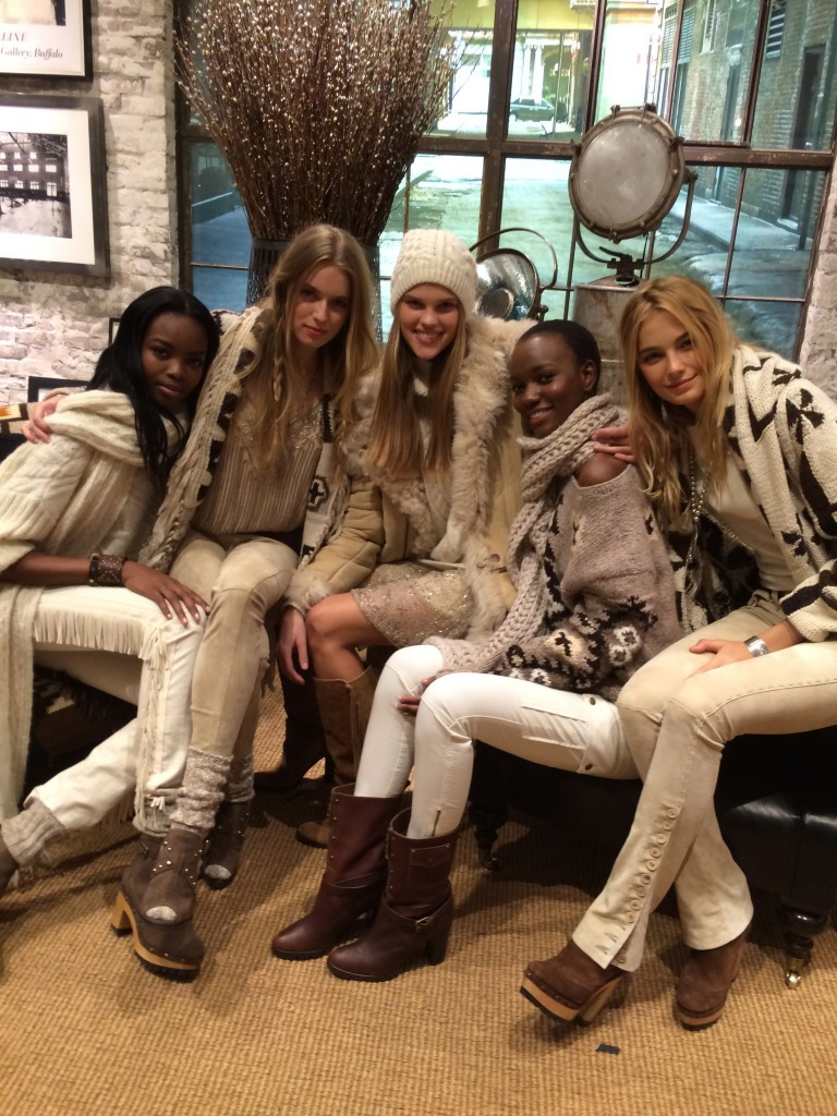 Five beauties in Navajo meets skinny, fringed jeans in Aspen après ski chic Ralph Lauren