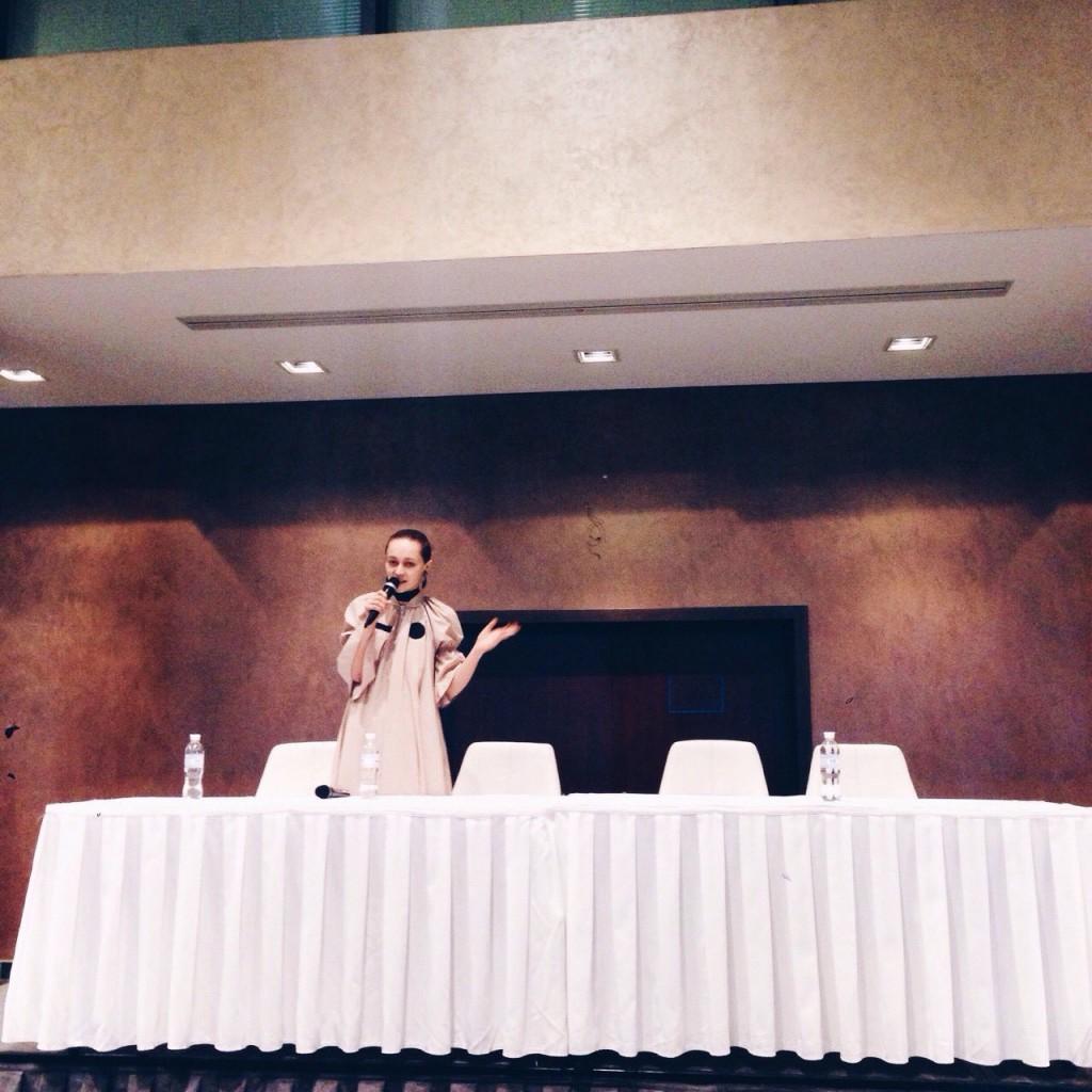 Daria Shapovalova holding a lecture
