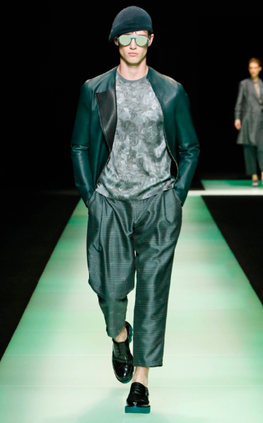 Beautiful leather blouson and wide pants Emporio Armani