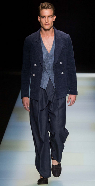 Armani's waistcoast under elegant summer suiting Giorgio Armani