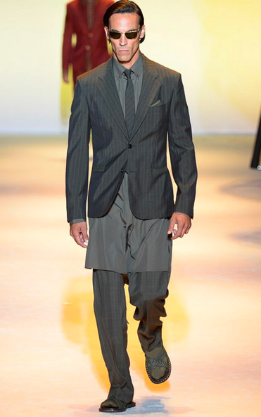 Scott Barnhill, another male supermodel showing off tailoring and layering Versace