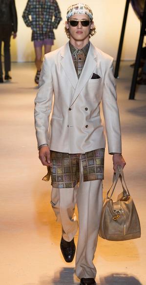 Scarves grace the suit Versace