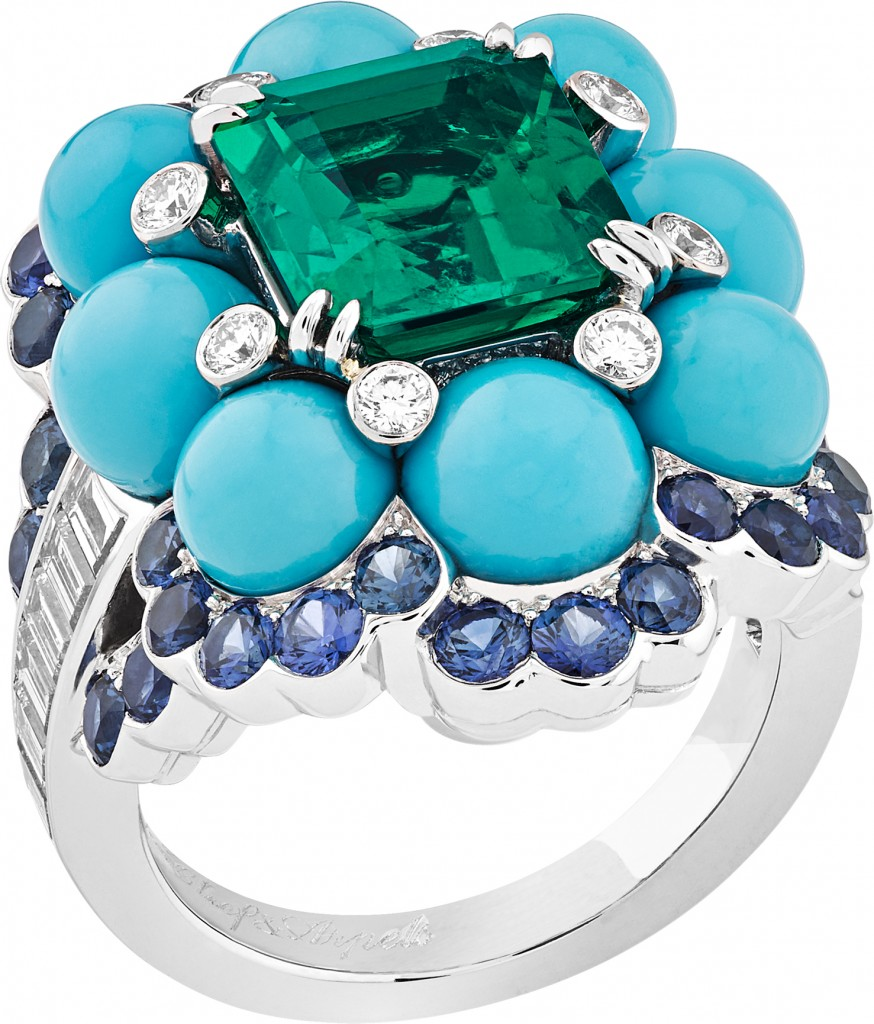 """Adriatic Sea, Ancône"" ring made of white gold, round and baguette-cut diamonds, sapphires, turquoise beads, one octagonal-cut emerald of 3.28 carats (Colombia)"