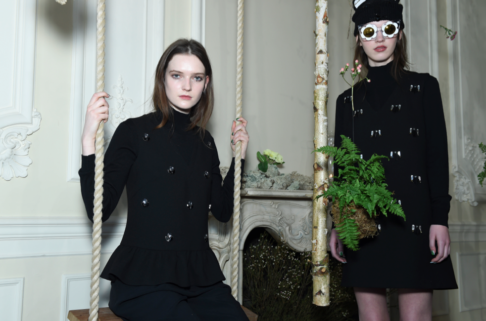 Ferns, birch tress and a swing complete the Fall 2015 presentation