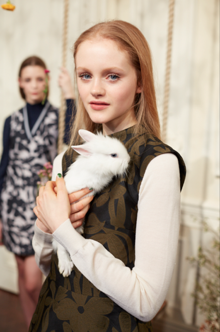 Two models and a rabbit attend Markus Lupfer's Fall 2015 spectacle