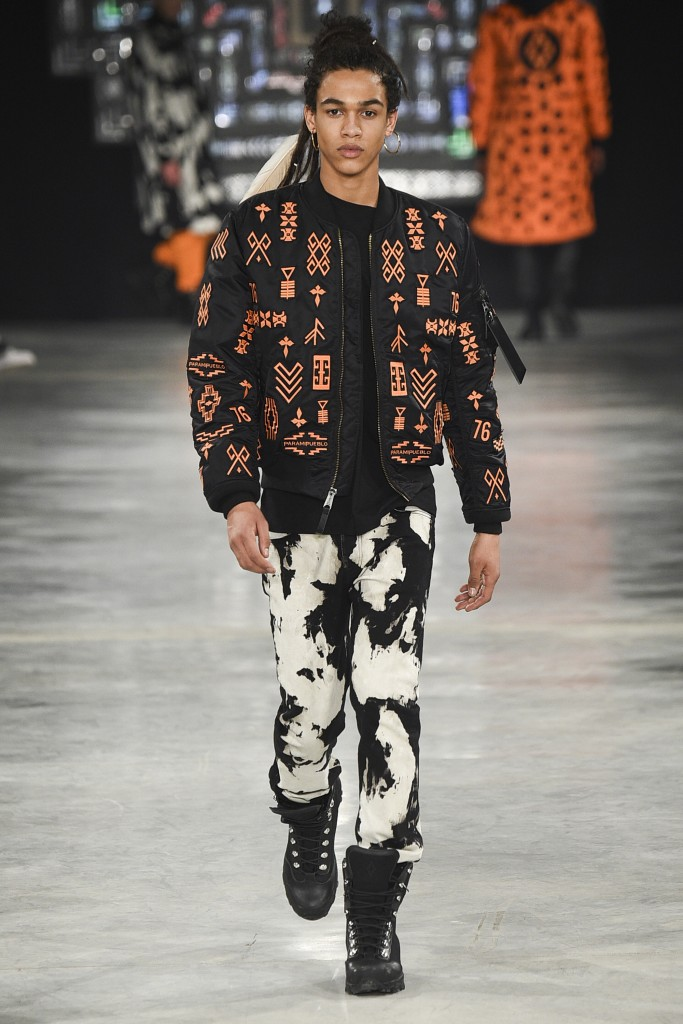 Camouflage pants and bright bomber jackets County of Milan