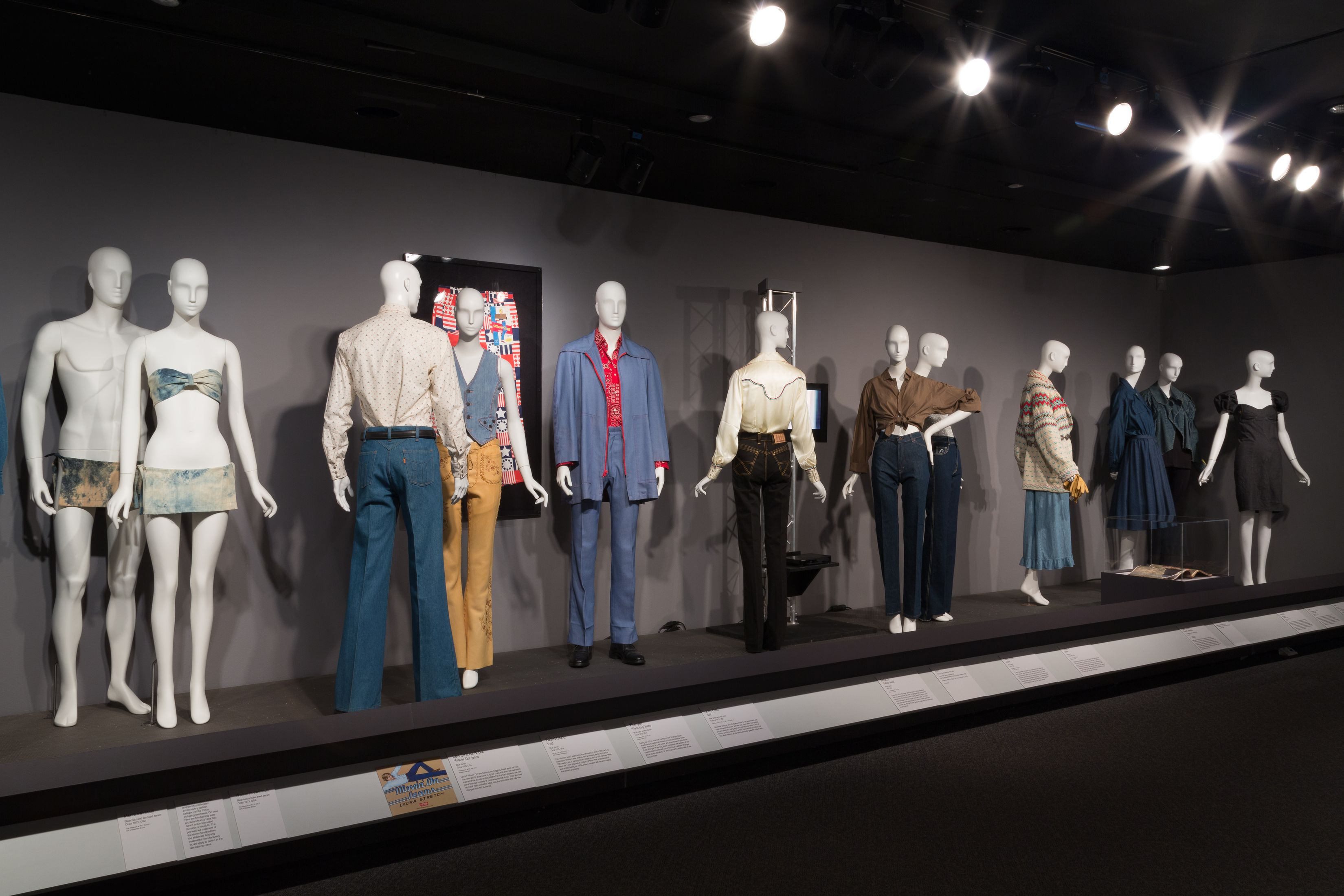 Installation view of Denim: Fashion's Frontier. Image courtesy of The Museum at FIT