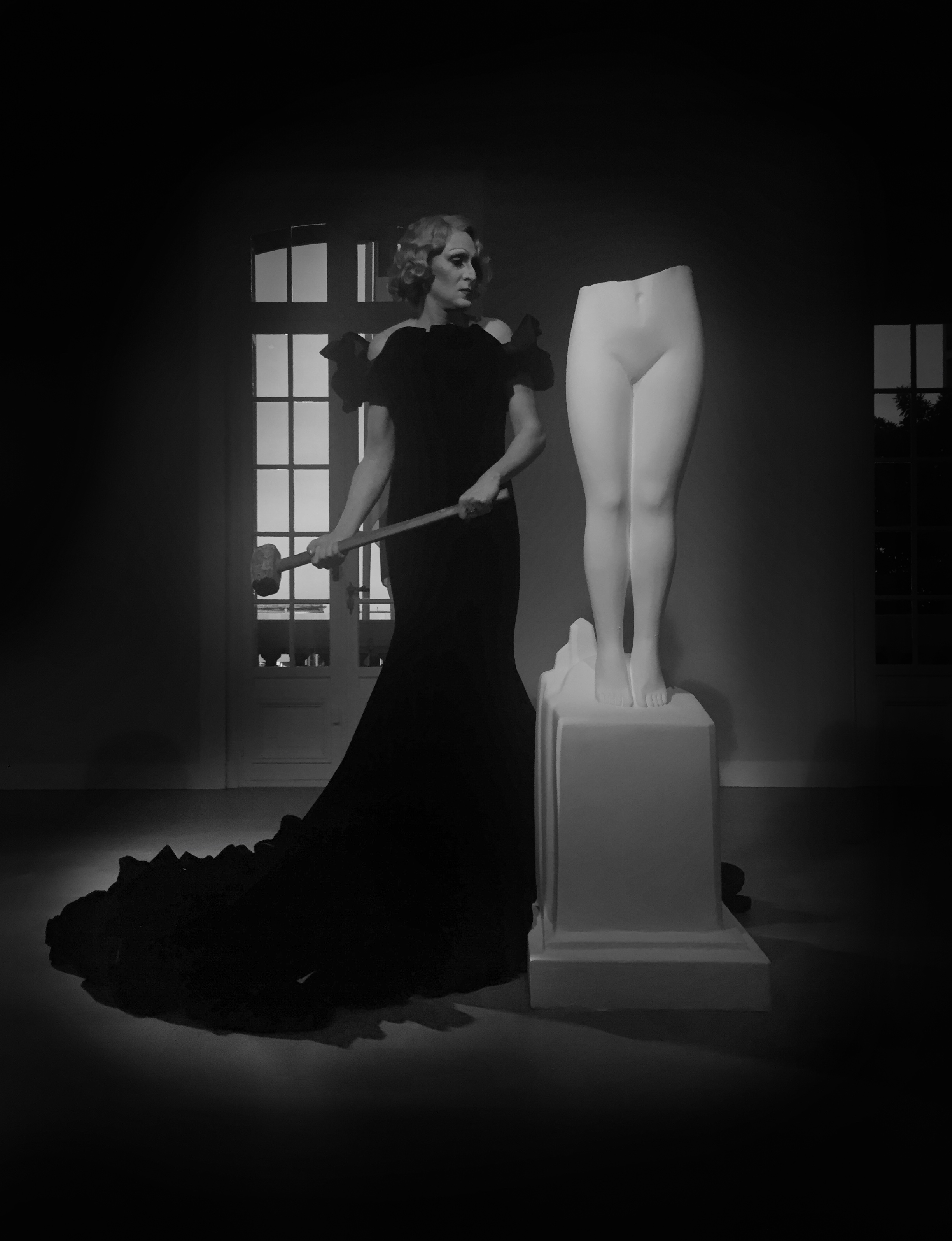 Francesco Vezzoli wearing custom-made Prada dress inspired to Marlene Dietrich at his Villa Marlene performance