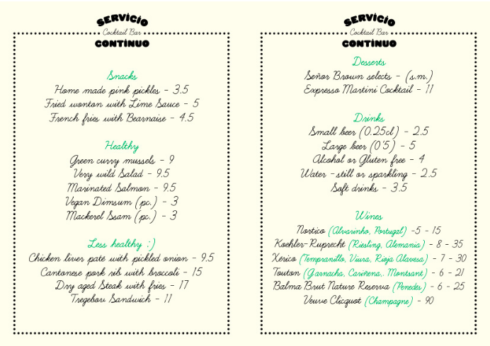 """Ein Blick auf die Speisekarte von Nacho Alegres erstem Restaurant, dem """"Servicio Continuo"""" in Barcelona"""