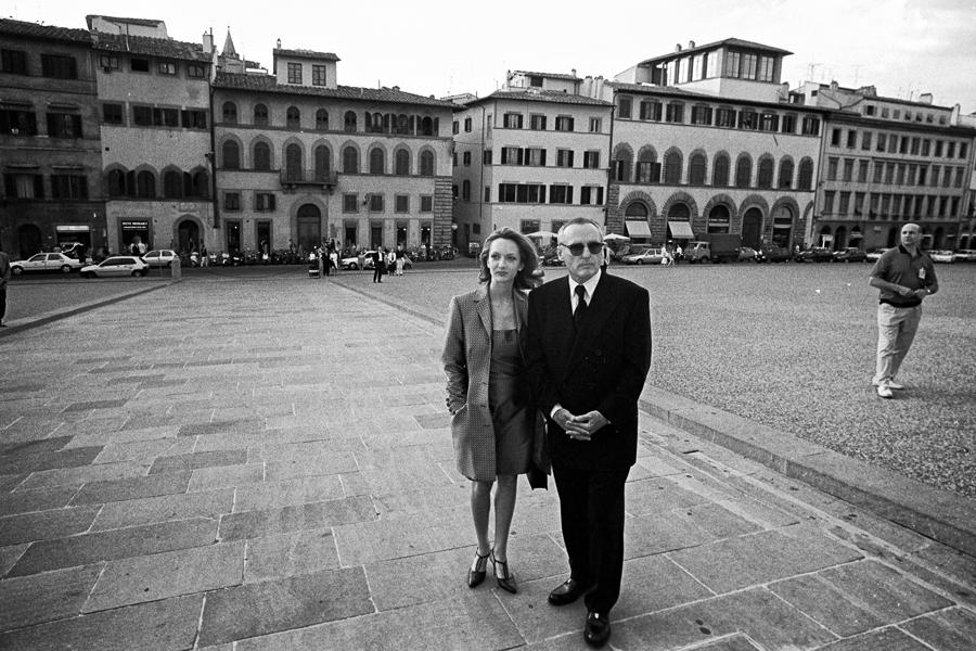 Helmut Fricke hält modische Momente auch vor und nach den Modenschauen fest: Etwa Easy Rider Dennis Hopper während der Pitti Uomo 1997 in Florenz