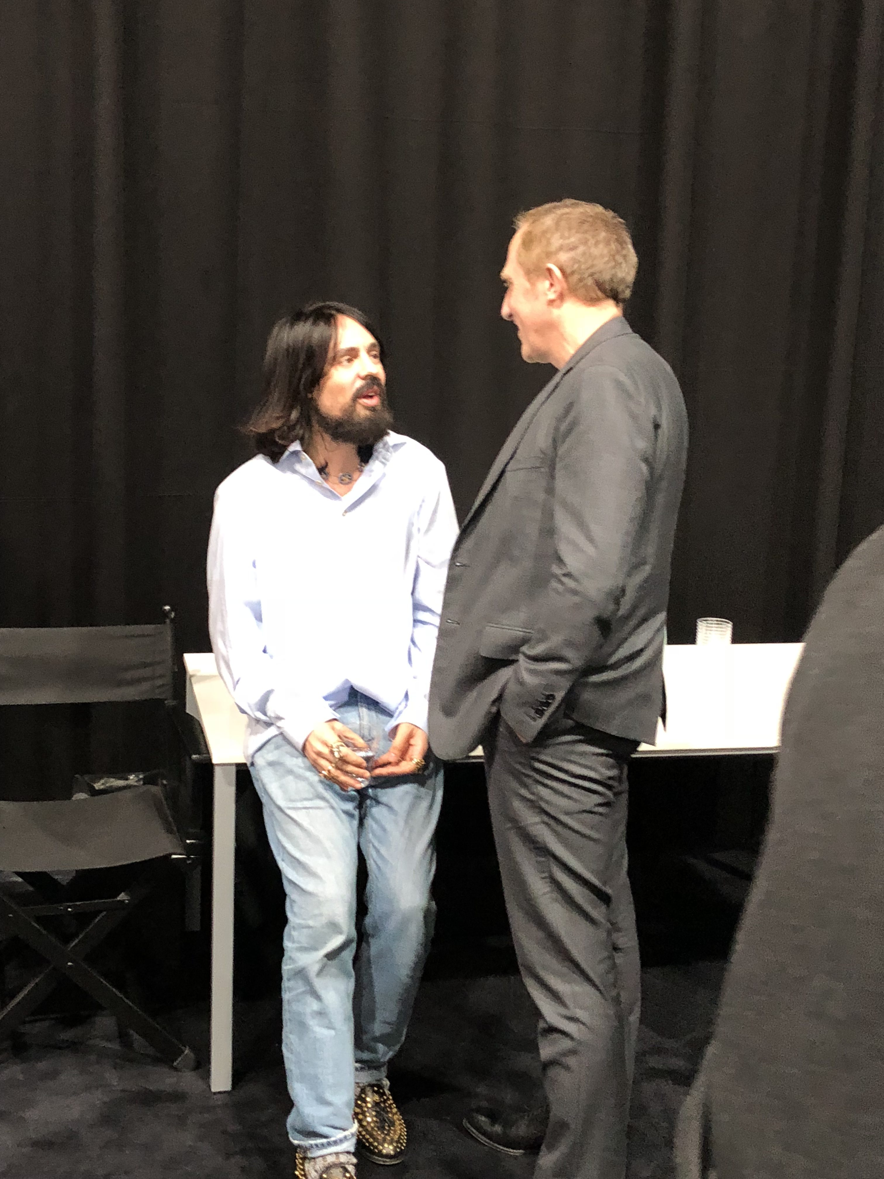 ad9800895a6 Alessandro Michele and Francois Henri Pinault having a little chat  backstage after the Gucci F W 2018 presentation