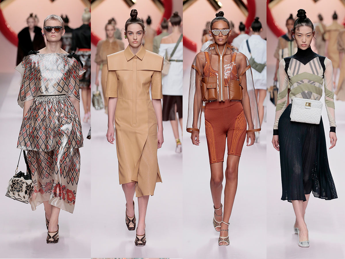A selection of looks from FENDI SS19