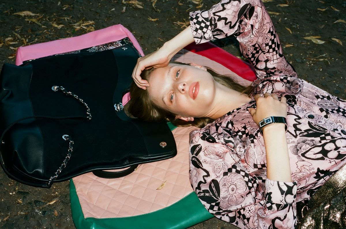 Chanel Bag Pink Black Green Model Lying Flower Dress