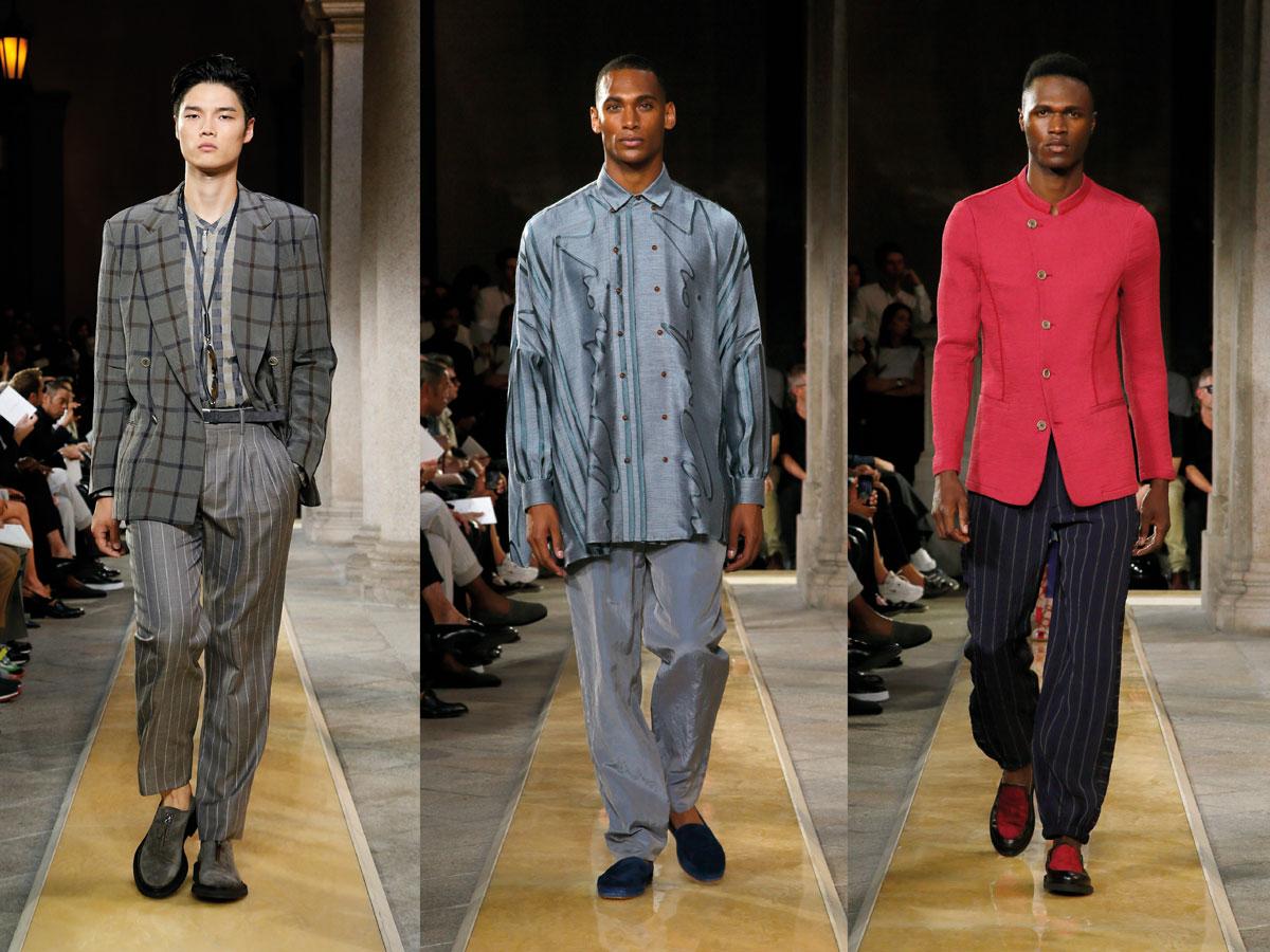 Milan fashion week ss2020 roundup men grey suit denim shirt hot pink jacket