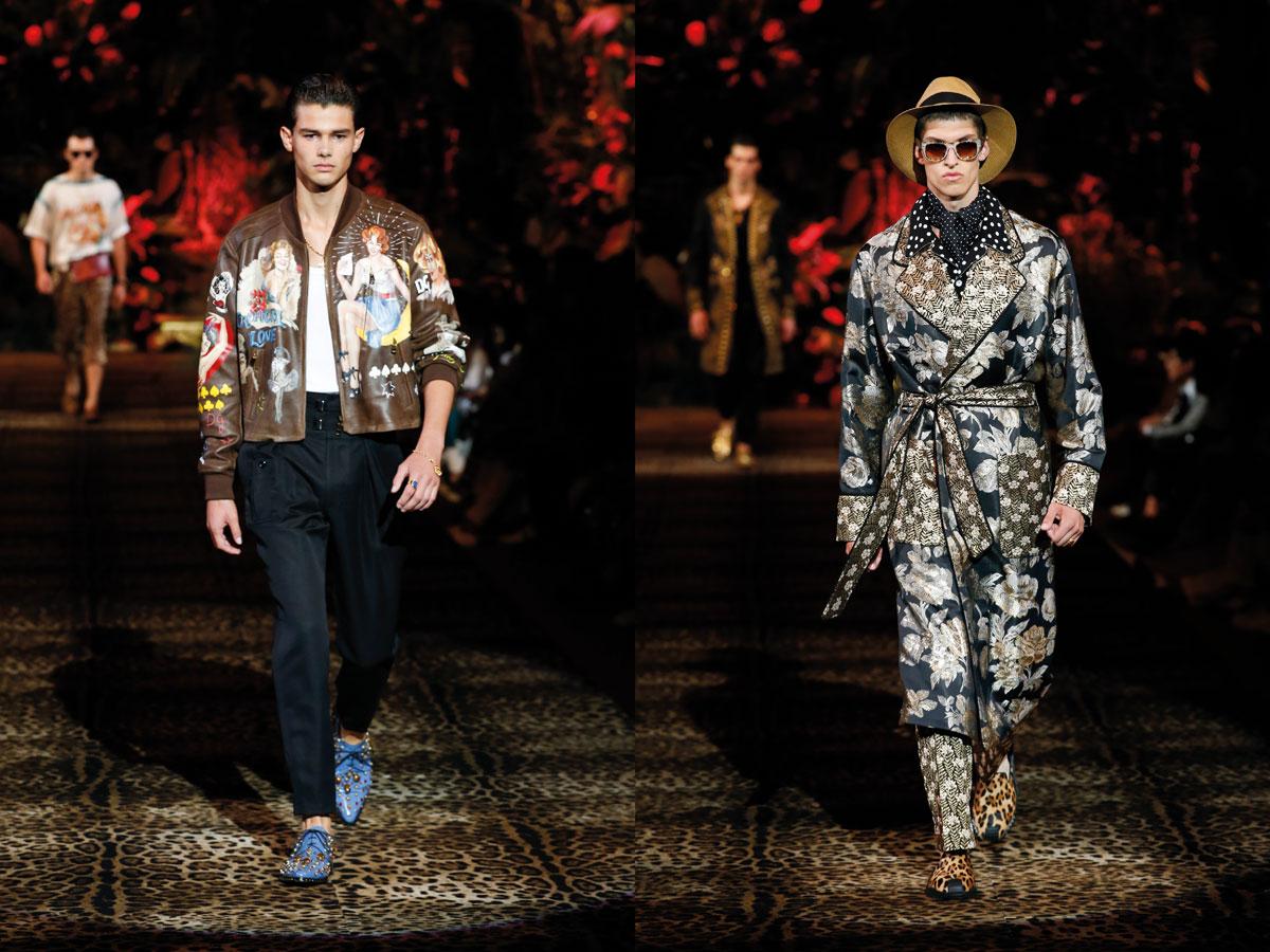 Milan fashion week ss2020 roundup men dolce gabbana brown leather jacket patterned coat