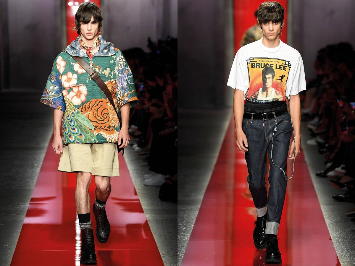 Milan fashion week ss2020 roundup men dsquared 2 hawaii shirt green white thsirt print denim
