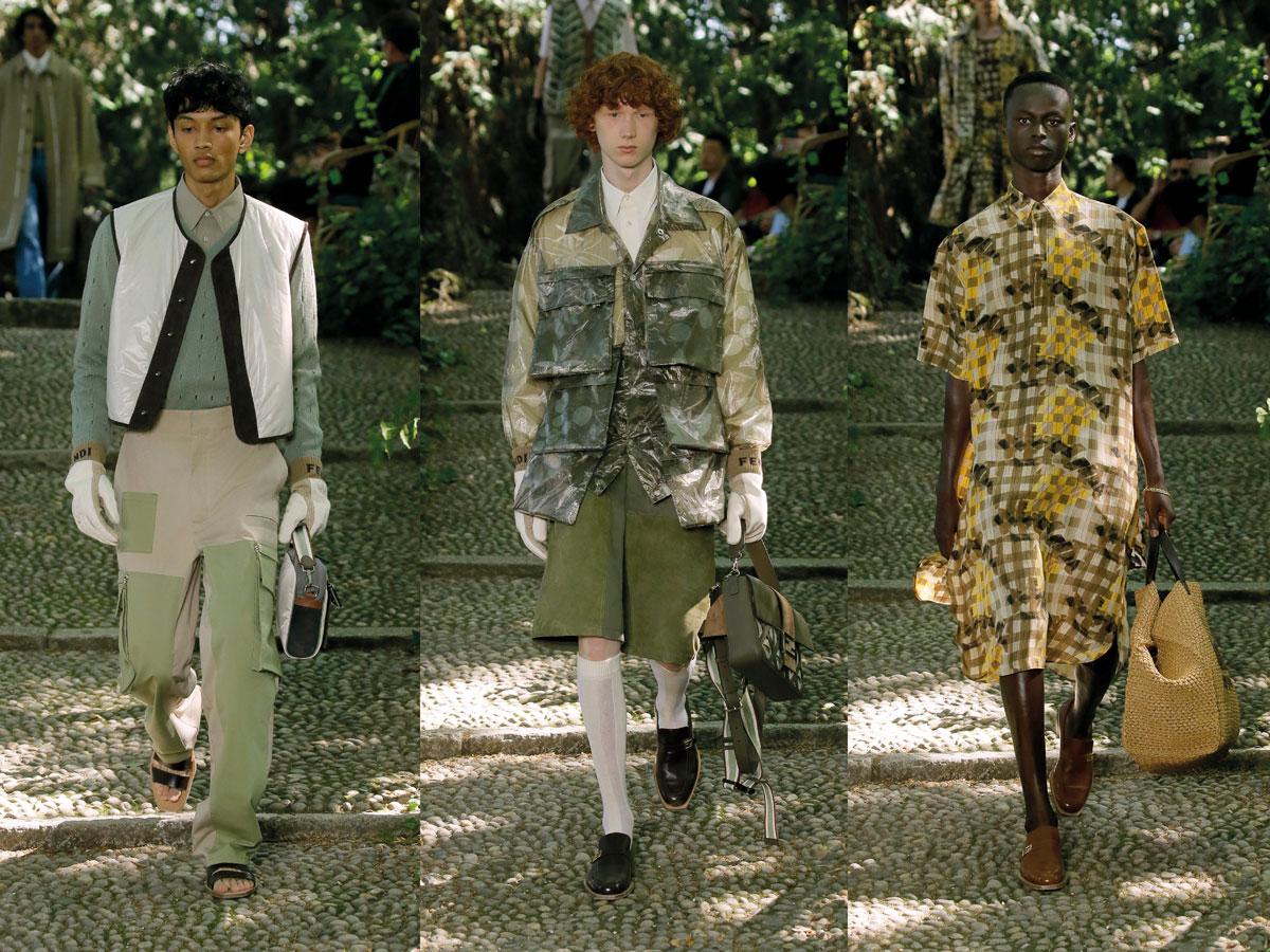 Milan fashion week ss2020 roundup men fendi green beige yellow jacket dress pants