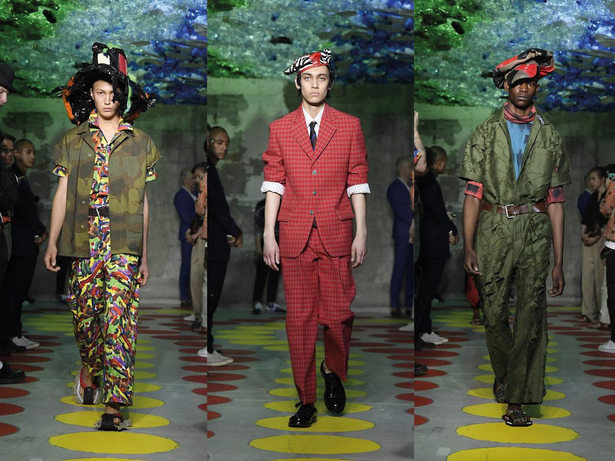 Milan fashion week ss2020 roundup men marni pattern set red suit green suit