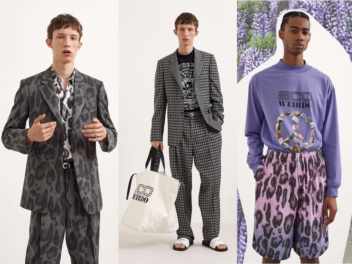 Milan fashion week ss2020 roundup men stella McCartney patterned grey suit purple sweatshirt patterned pants