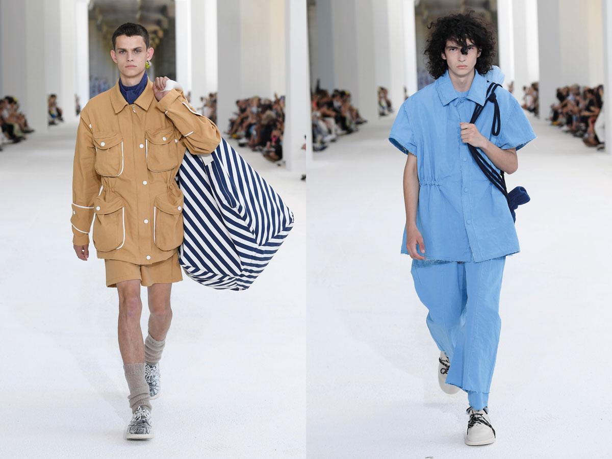Milan fashion week ss2020 roundup men sunnei beige suit blue set