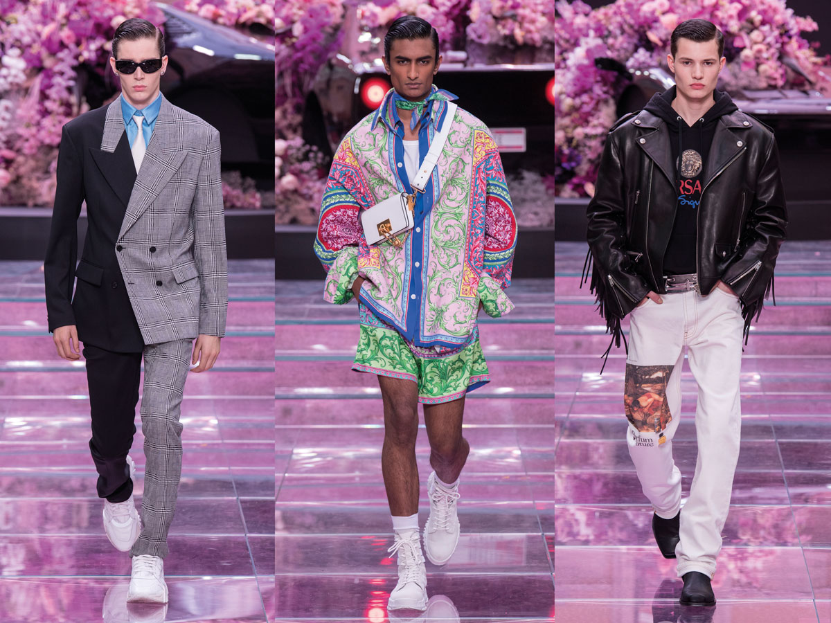 Milan fashion week ss2020 roundup men versace patchwork suit grey black patterned windbreaker pink blue green black leather jacket