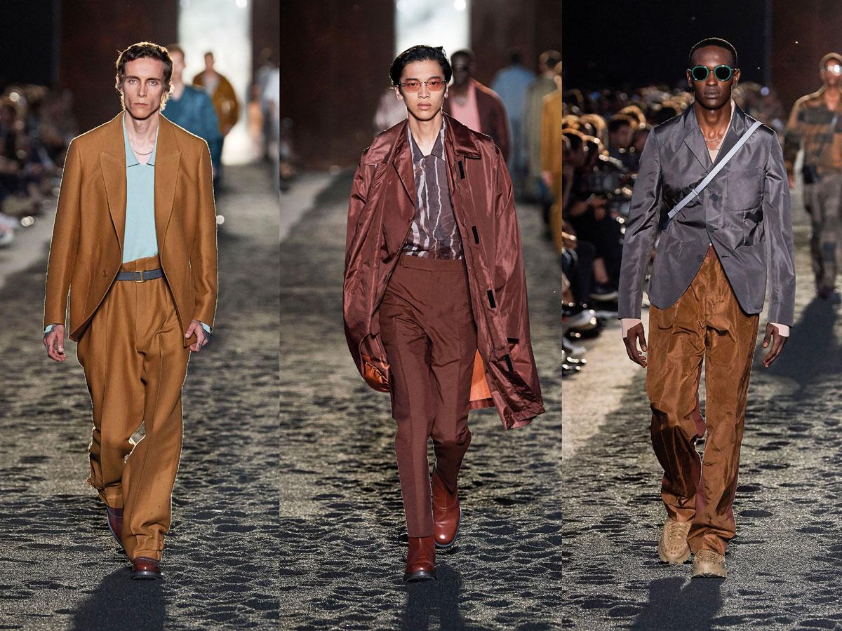 Milan fashion week ss2020 roundup orange suit pink suit gey top zegna men