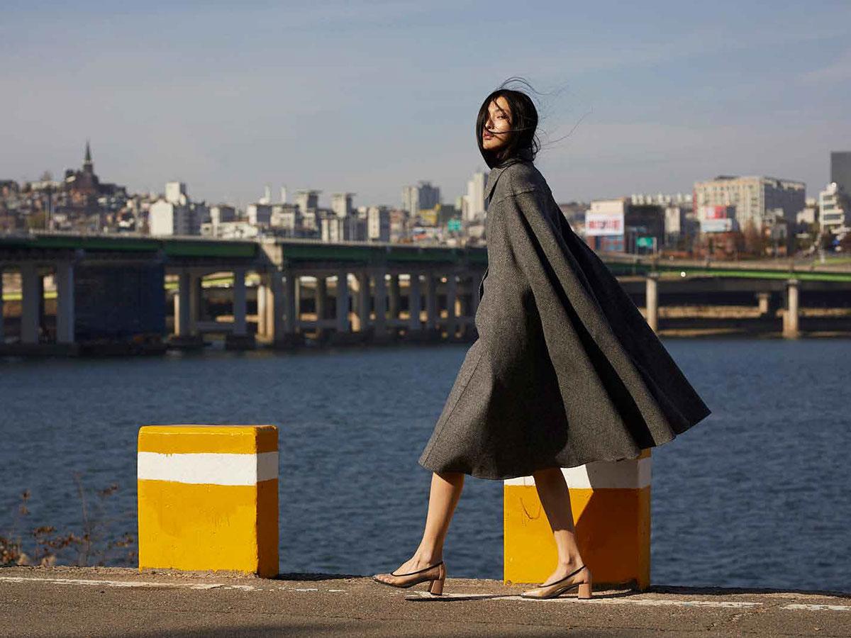 Max Mara Clothes Women Gray Coat Harbour Water