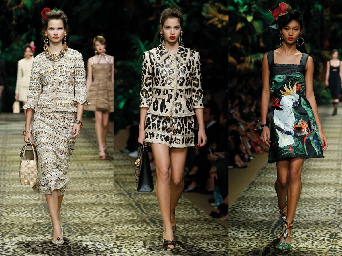 Milan Fashion Week Dolce & Gabbana SS 20 beige leopard green dress set