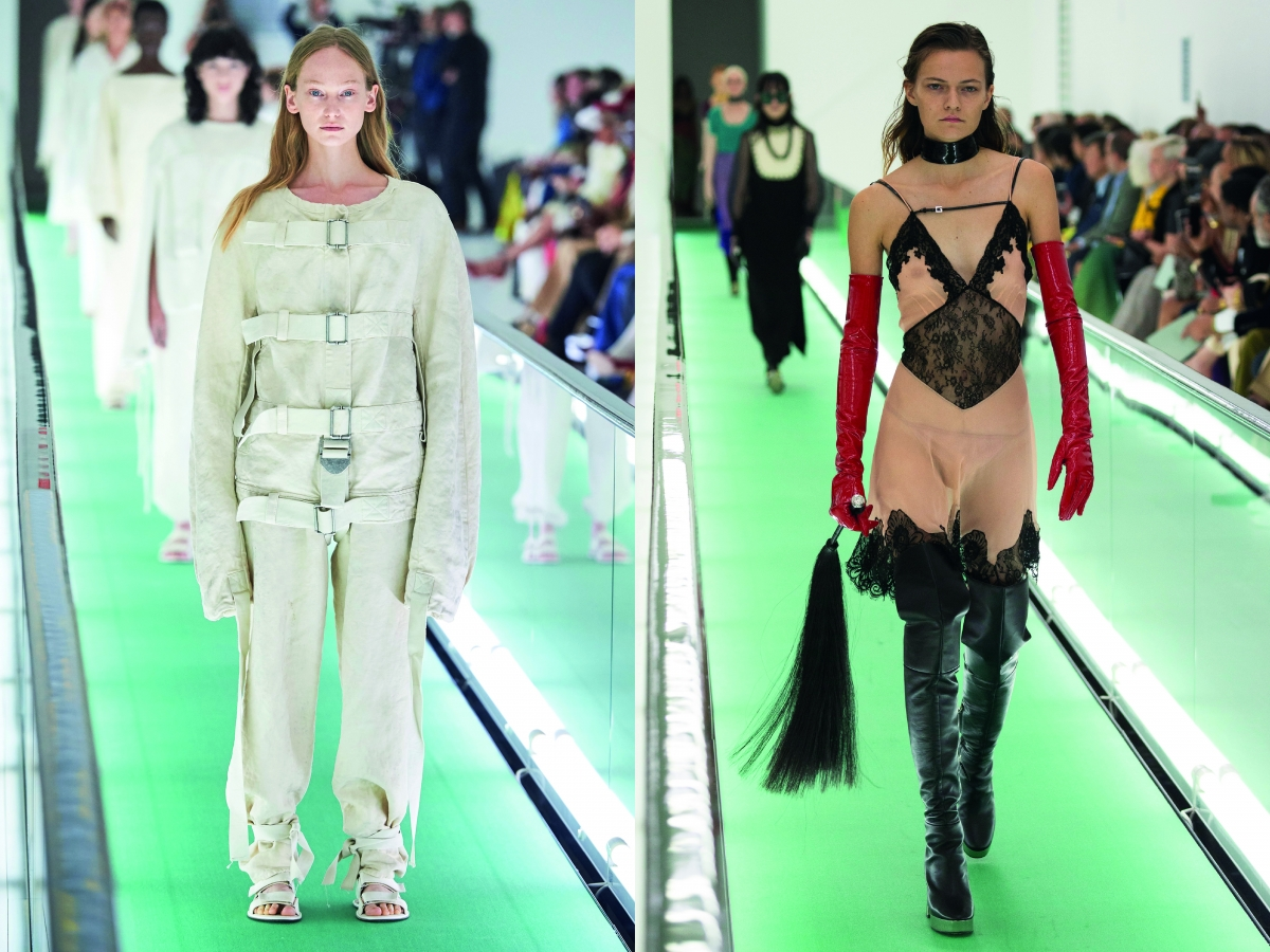 Milan Women Fashion Week SS 20 Gucci White Suit Nude lace dress latex boots black latex gloves red