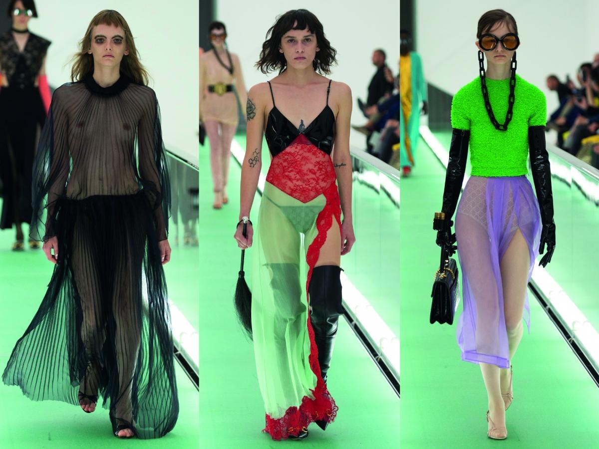 Milan Fashion Week Gucci Dress Black Patchwork dress neon top lilac skirt oversized glasses