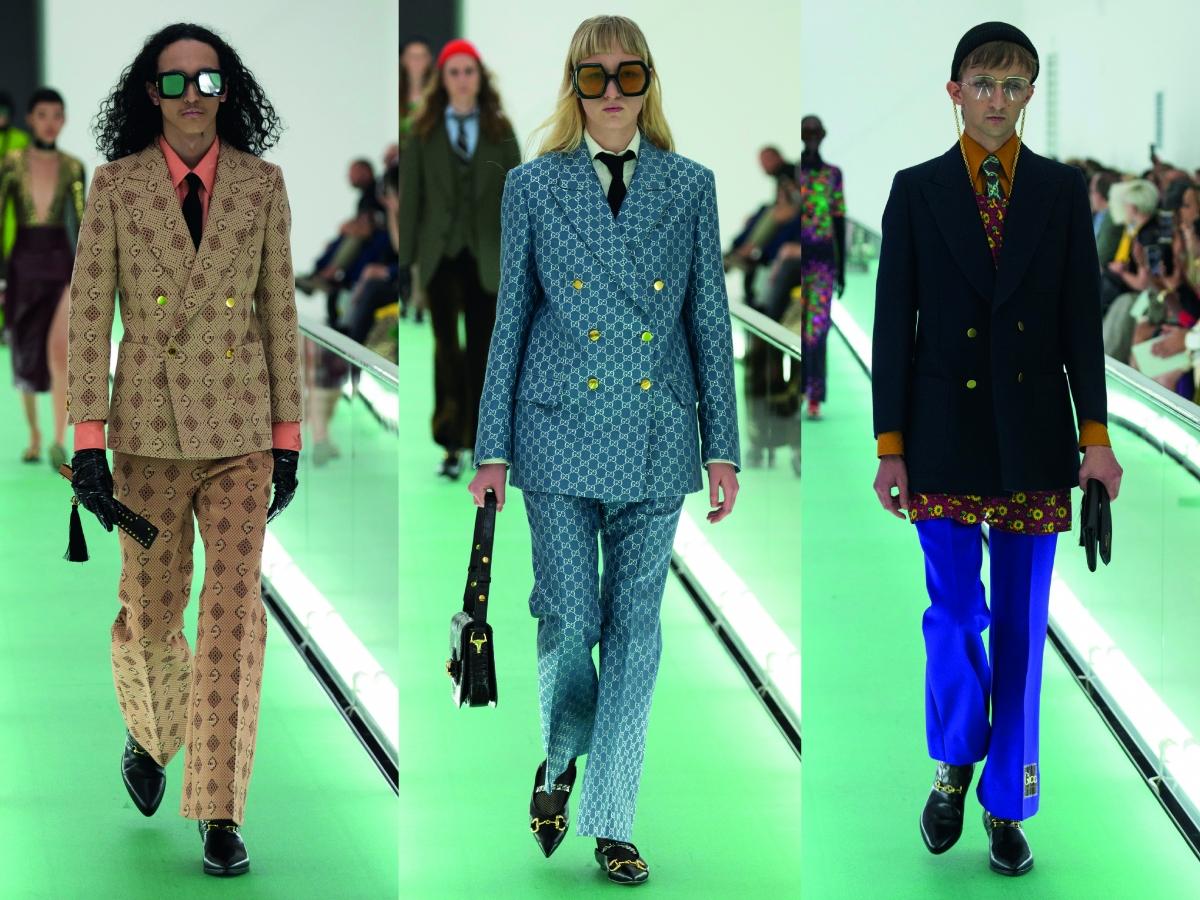 Milan Fashion Week Gucci SuitTailoring Beige Blue Brown