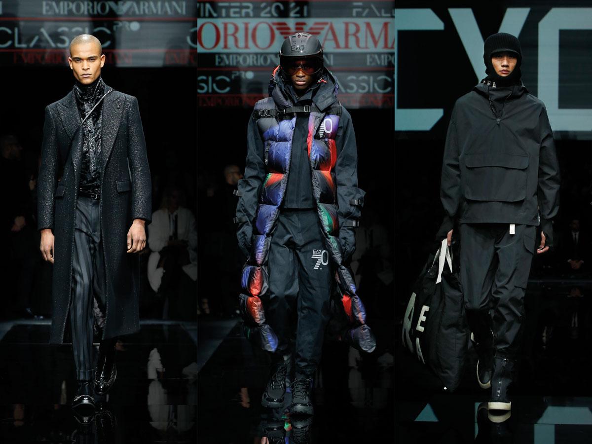 Milan men fw 2020 fashion week Emporio Armani Black suit padded vest black hoodie