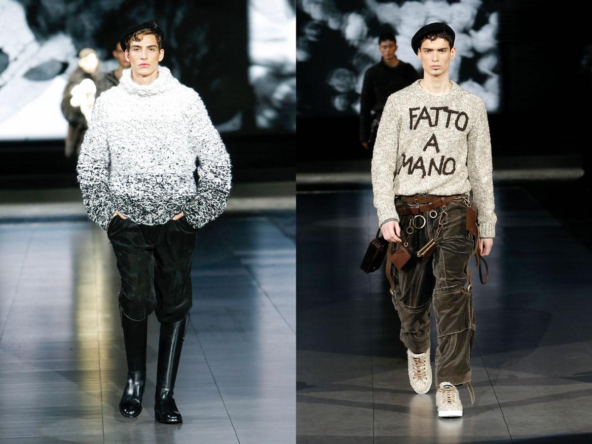 Milan men fw 2020 fashion week Dolce Gabbana D&G white blue sweater leather boots beige sweater brown utility pants beret