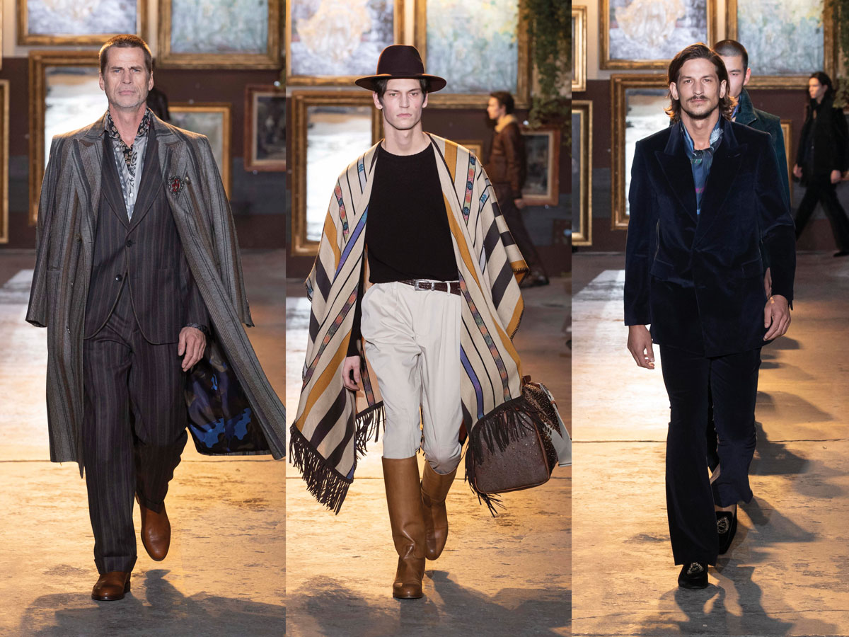 Milan fw 2020 fashion week etro grey suit beige cape blue velvet suit
