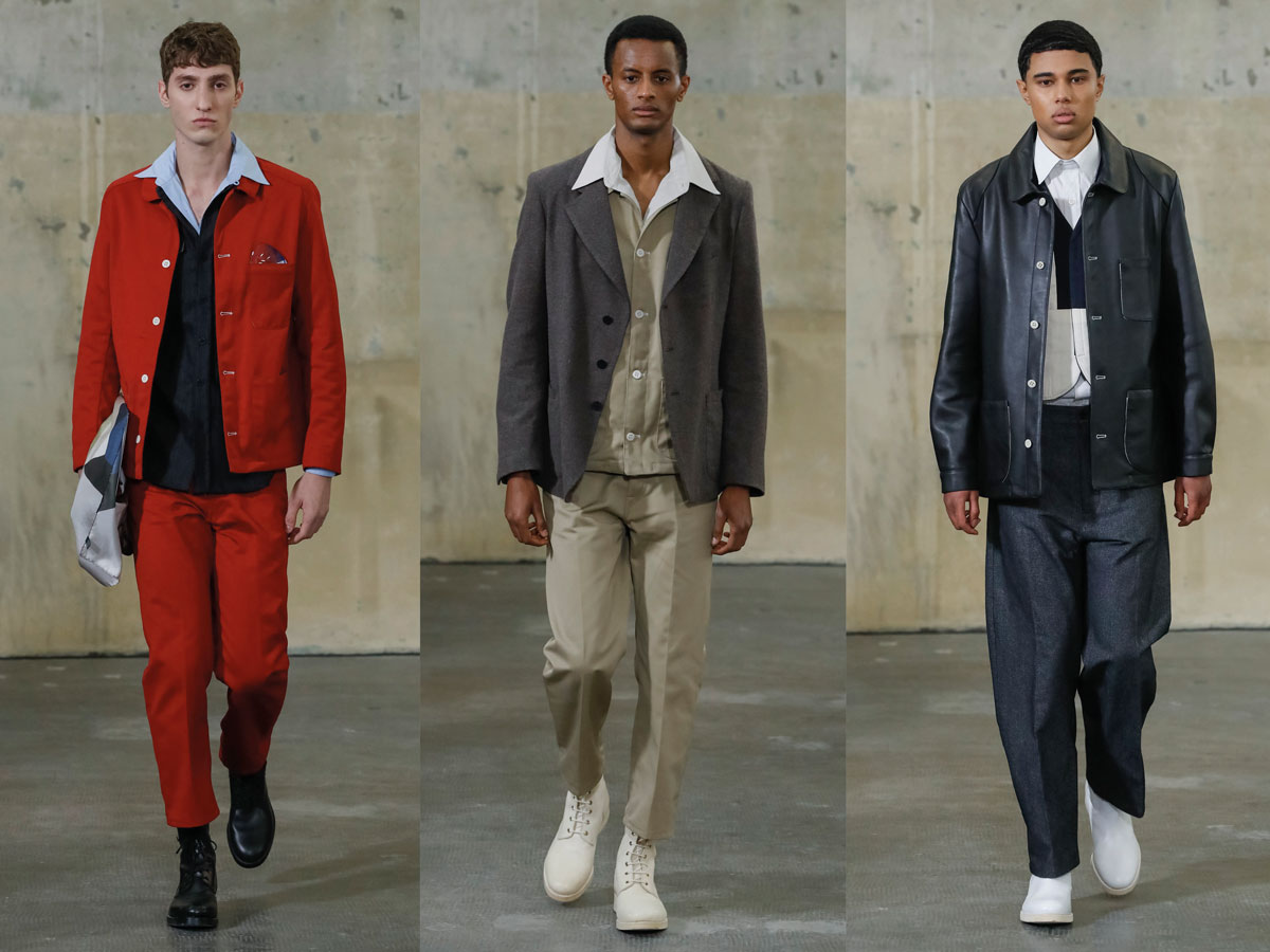 Milan fw 2020 fashion week fabio quaranta red suit beige set blue set stripes