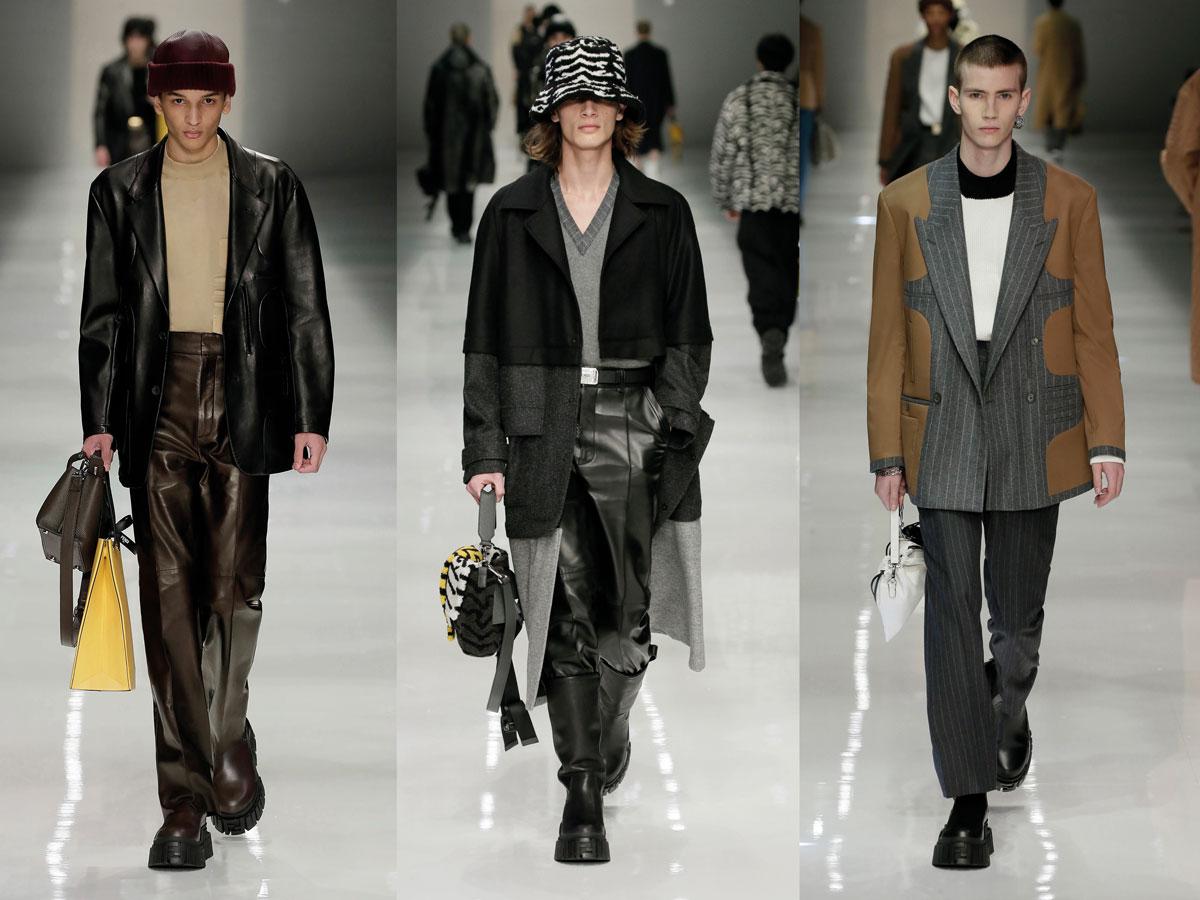 Milan fw 2020 fashion week fendi leather blazer black pants brown black grey coat beige grey coat