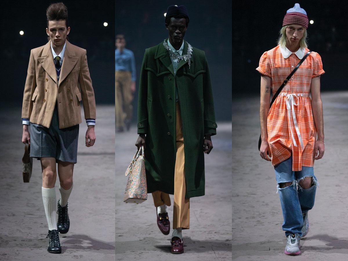 Milan fw 2020 fashion week gucci brown jacket shorts green coat orange dress distressed jeans